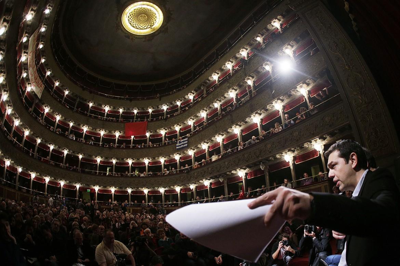 Il leader di Syriza Alexis Tsipras al teatro Valle occupato