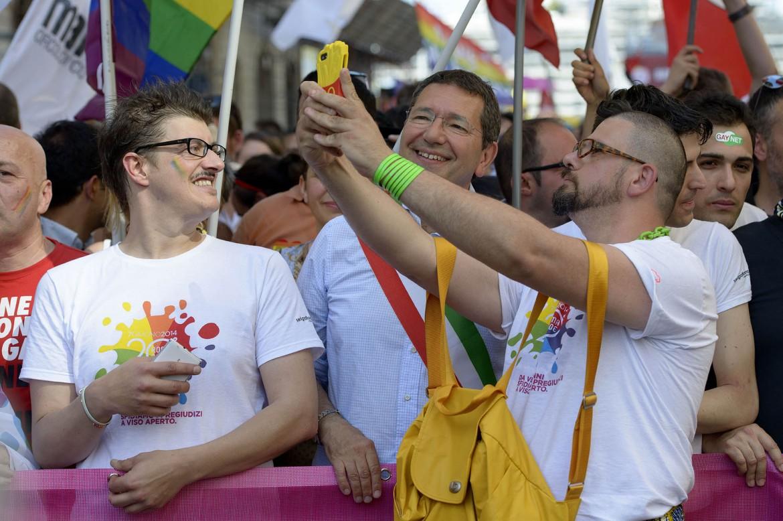 Il sindaco, Ignazio Marino, al Roma Pride 2014