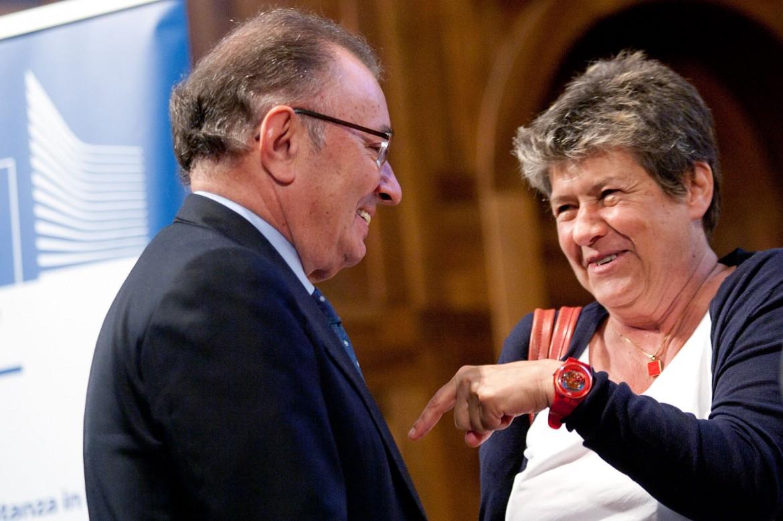 Il presidente di Confindustria Giorgio Squinzi e la segretaria Cgil Susanna Camusso