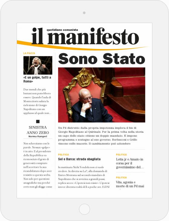 La copertina del numero di domenica