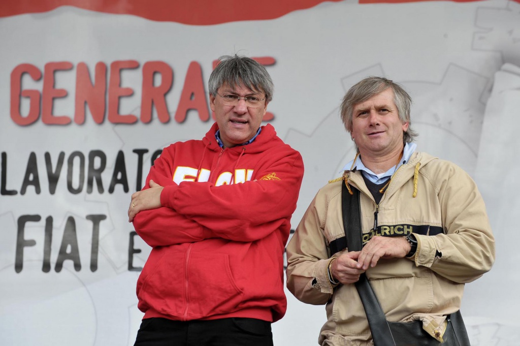 Maurizio Landini, segretario della Fiom, e Giorgio Airaudo, a lungo il suo numero due