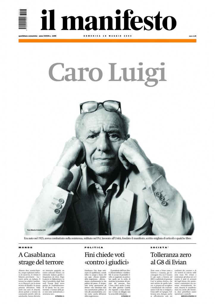 Caro Luigi, la copertina del manifesto del 18 maggio 2003