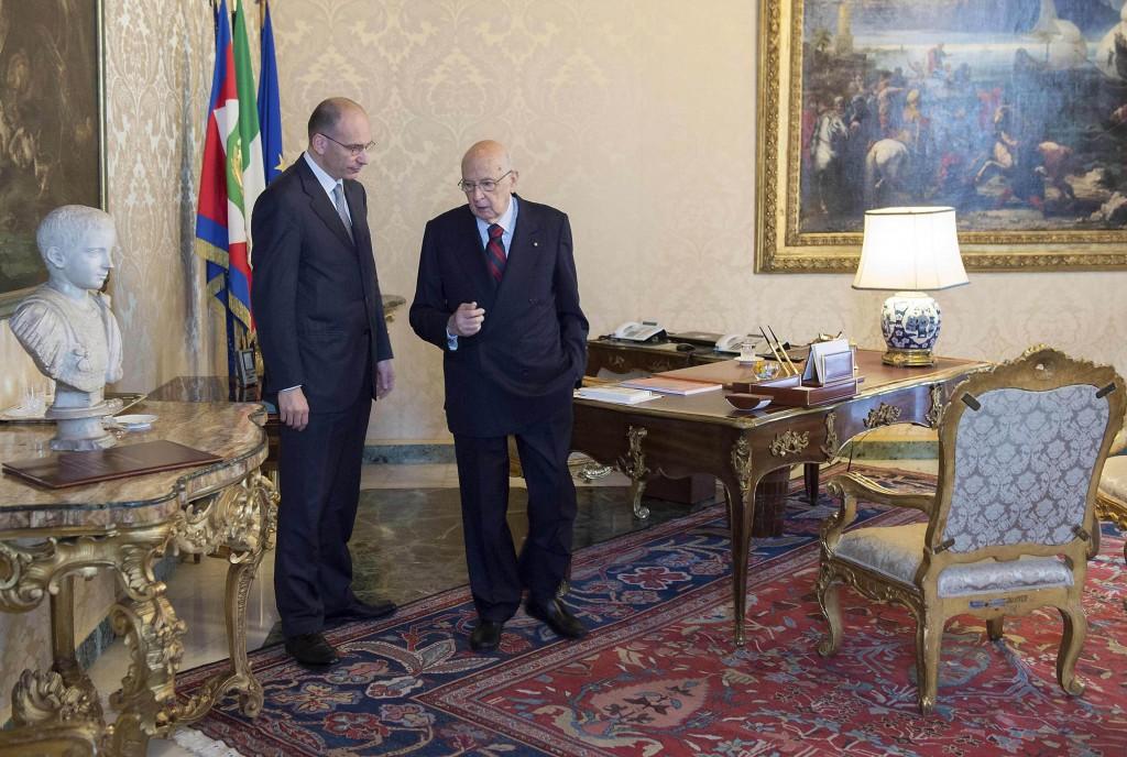 Il presidente del Consiglio Enrico Letta e il presidente della Repubblica Giorgio Napolitano