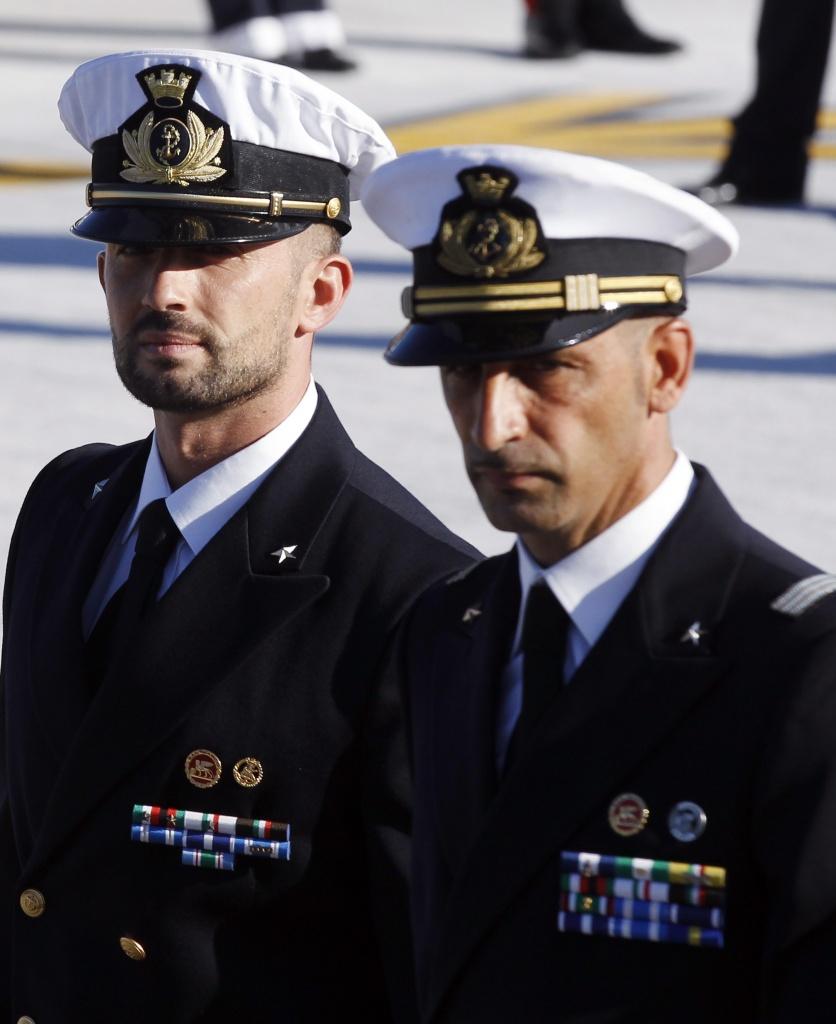 I fucilieri di marina Girone e Latorre a Ciampino il 22 dicembre scorso