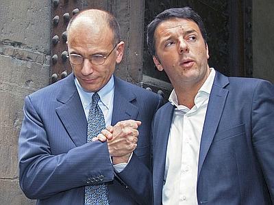 Enrico Letta, il presidente del consiglio, e Matteo Renzi, sindaco di Firenze