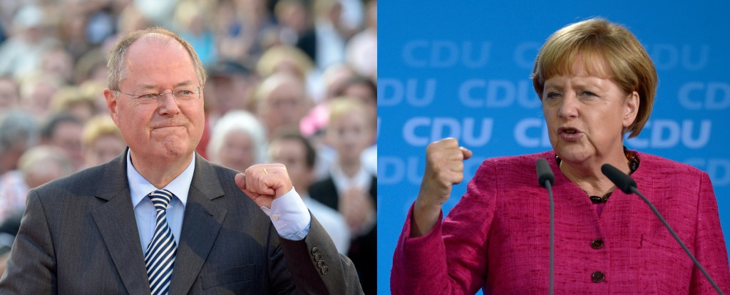 Il candidato Spd Peer Steinbrück e la cancelliera in carica Angela Merkel