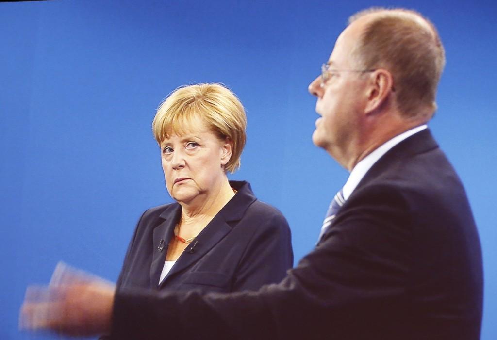 Angela Merkel e Peer Steinbrück nel dibattito tv
