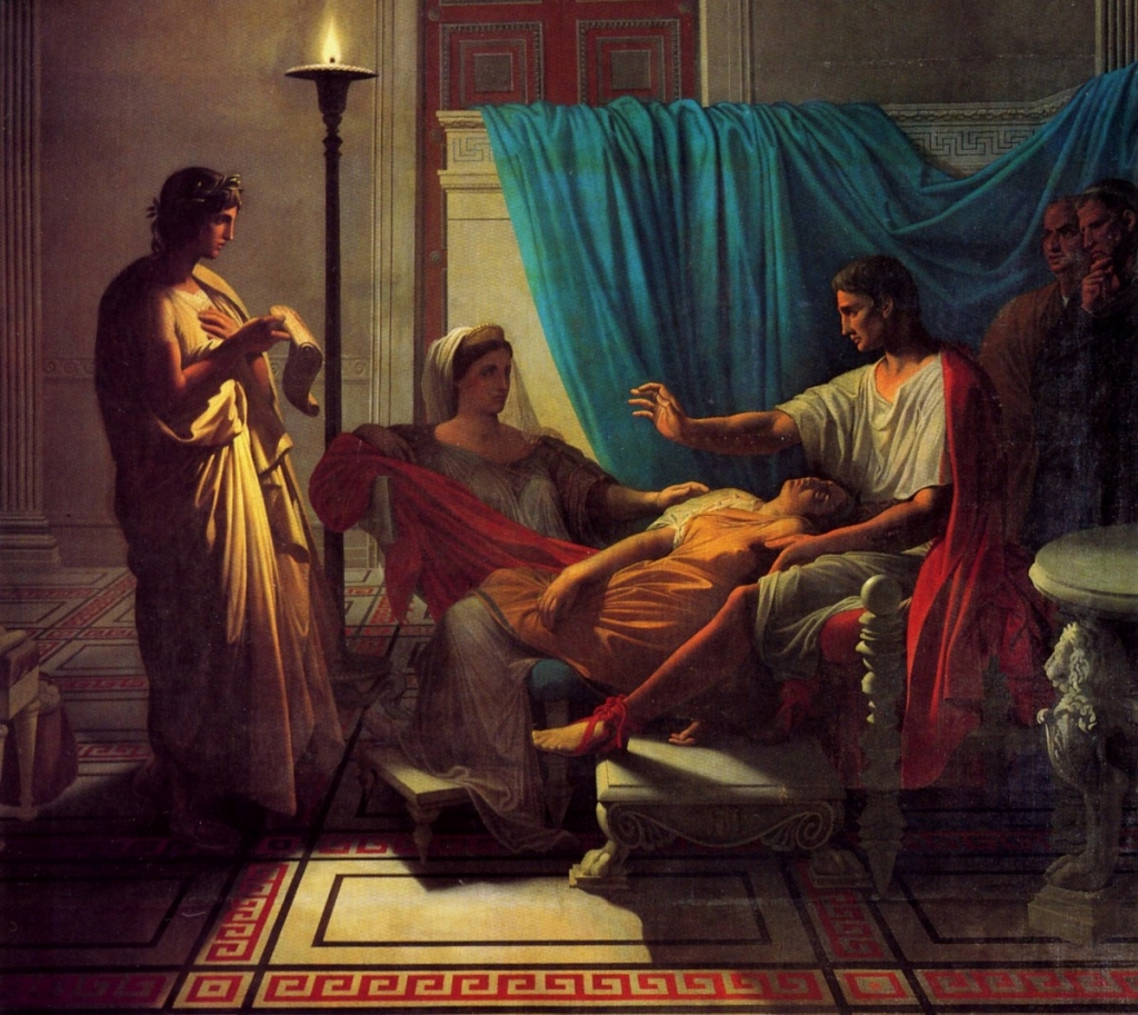 Jean-Auguste-Dominique-Ingres, «'Tu Marcellus eris' Virgilio legge ad Augusto il sesto libro dell'Eneide», 1812, Tolosa, Musée des Augustins