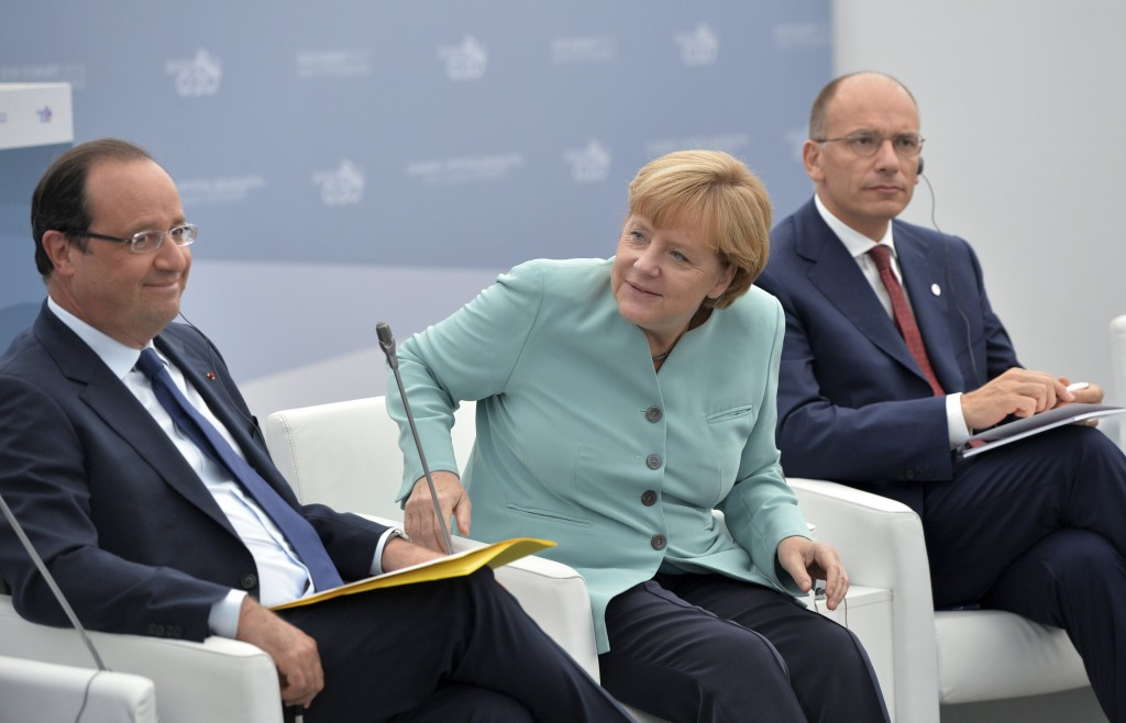 Hollande, Merkel e Letta al G20 di San Pietroburgo