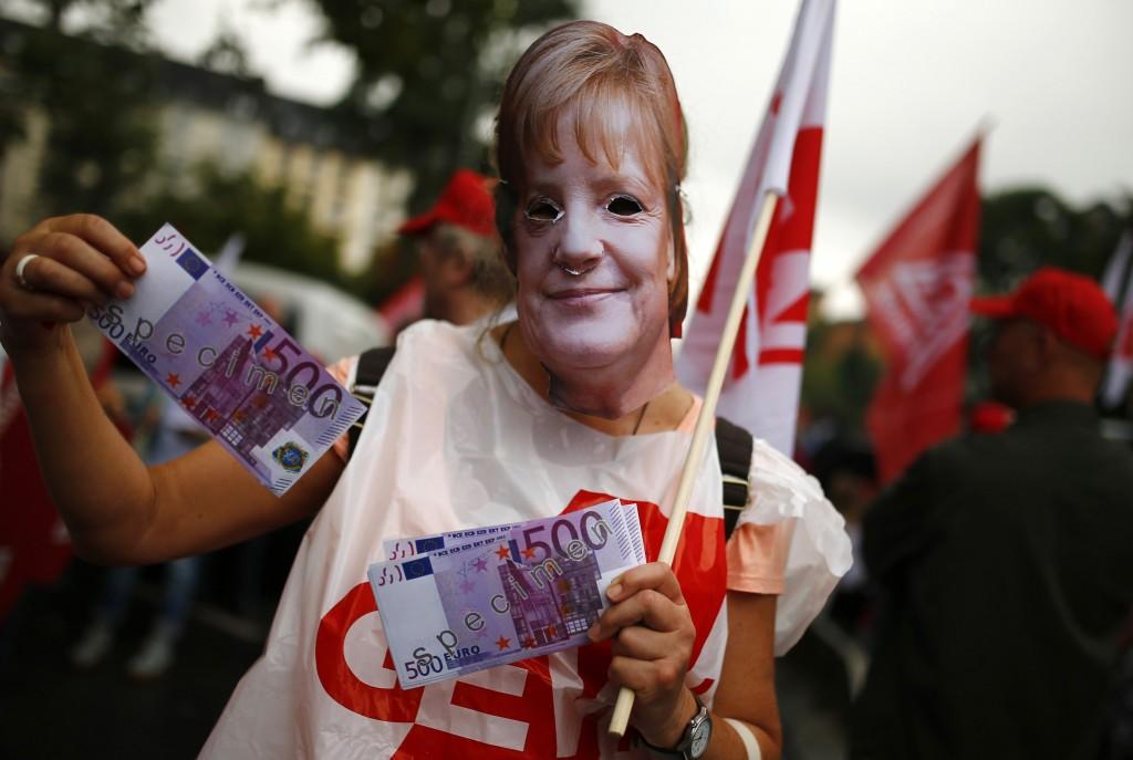 Protesta dei sindacati Dgb a Francoforte