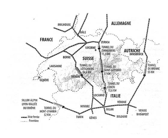 Il progetto delle nuove linee ferroviarie alpine. Non a caso, tutte le maggiori tratte ferroviarie corrono sulla direttrice nord-sud, mettendo in collegamento  le zone europee  di maggiore interesse industriale.  La Torino-Lione corre isolata verso ovest.