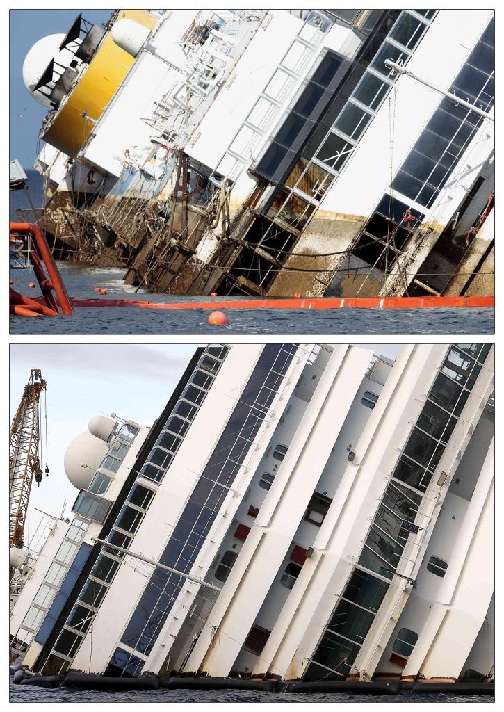 I primi gradi di rotazione della Costa Concordia