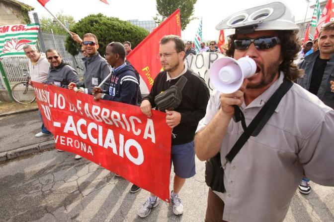 Manifestazione a Verona dei lavoratori della Riva acciaio