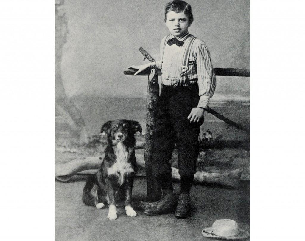Jack London all'età di nove anni,  con il suo cane Rollo, 1885