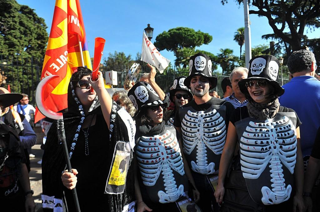 Uno sciopero dei sindacati di base a Roma