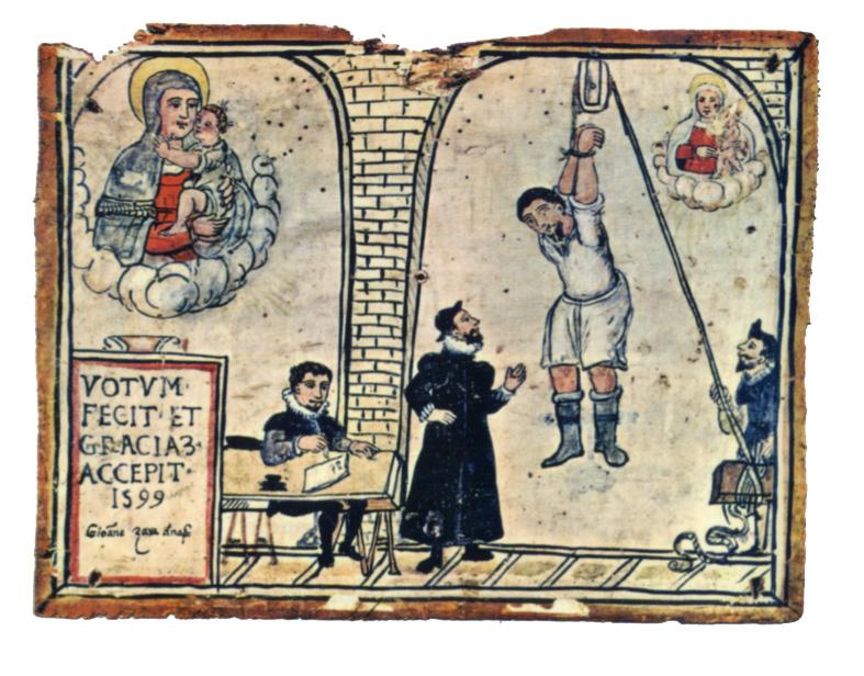 Un ex-voto di Giovanni Zava, 1599. Tratta  dal volume «Delitto e Perdono» di Adriano Prosperi