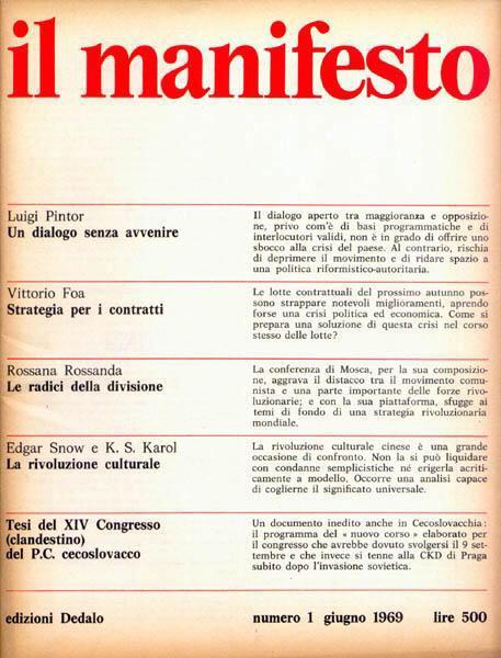 primo numero rivista il manifesto 23 giugno 1969
