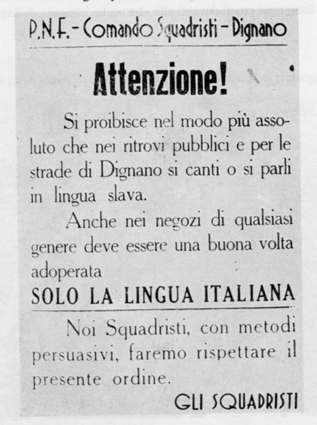 05inchiesta foibe Proclama degli squadristi di Dignano vicino a Pola
