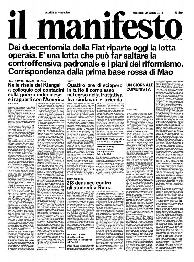 """K.S. Karol, sul primo numero del manifesto quotidiano la sua """"corrispondenza dalle basi rosse di Mao"""", nel 1971: nelle risaie del Kiangsi a colloquio coi contadini sulla guerra indocinese e i rapporti con l'America"""
