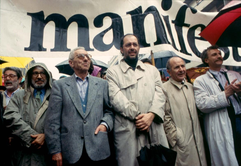 Pintor, Perini, Parlato e Medici alla manifestazione di Milano del 25 aprile 1994