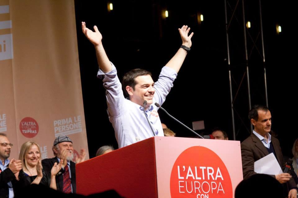 Alexis Tsipras, leader della sinistra greca e candidato presidente, il 20 maggio a Bologna