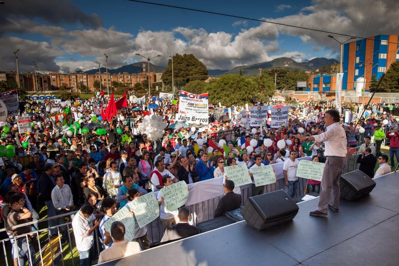 Bogotà, comizio del presidente Manuel Santos