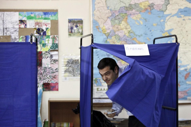 Alexis Tsipras al voto in Grecia