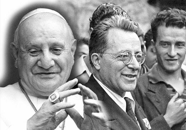 Un fotomontaggio con il pontefice Giovanni XXIII e il leader del Pci Palmiro Togliatti