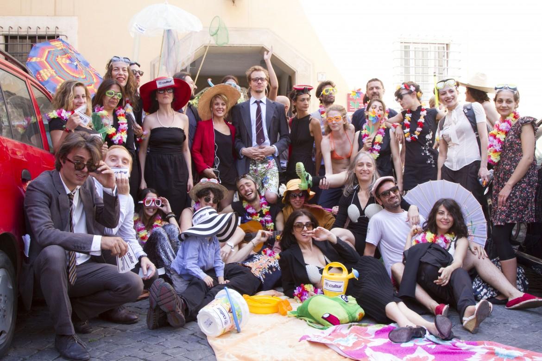 Gli attivisti del teatro Valle ieri all'assessorato alla cultura di Roma