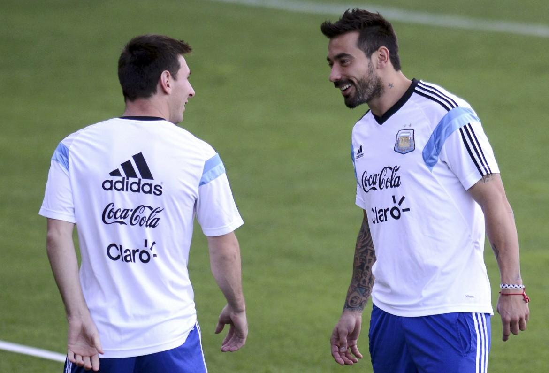 Messi e Lavezzi ieri in allenamento