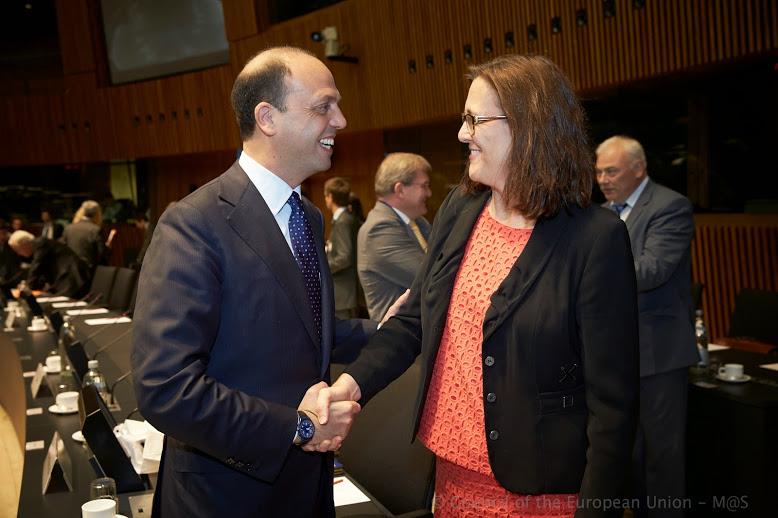 Il ministro Angelino Alfano con la commisaria Ue Cecilia Malmstrom