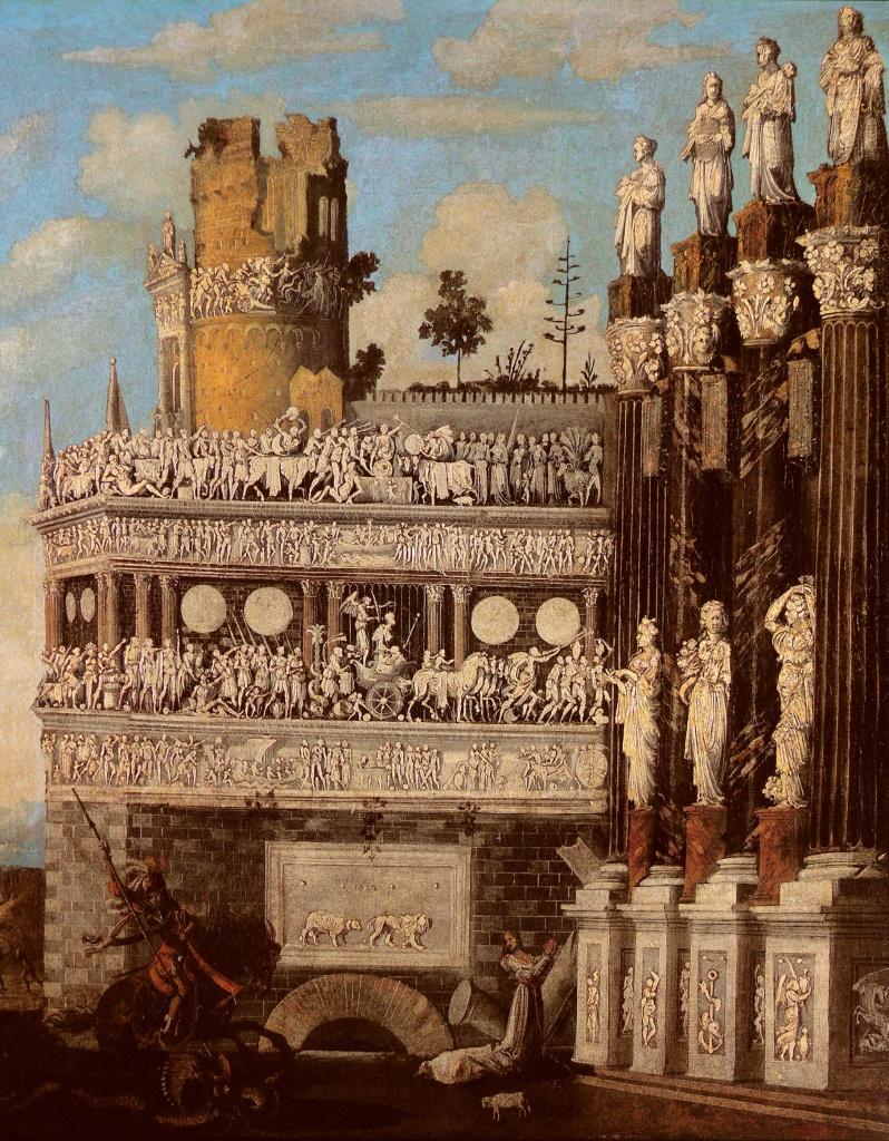 François de Nomé detto Monsù Desiderio, «Architettura fantastica con la leggenda di San Giorgio», part., 1622