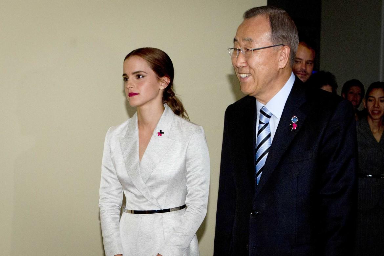 Emma Watson e Ban Ki Moon prima dell'assemblea generale dell'Onu