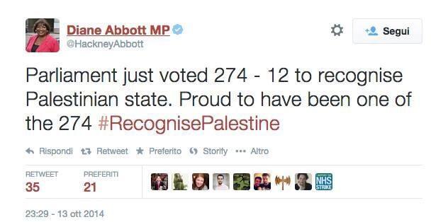 L'annuncio del voto britannico dato da una deputata. A quando un tweet simile dai nostri parlamentari?