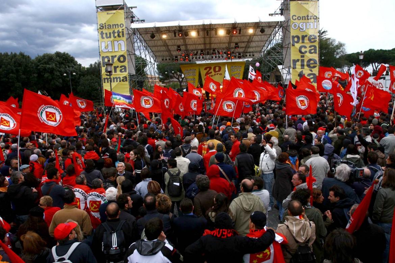 Roma, piazza san Giovanni, 20 ottobre 2007, manifestazione contro la finanziaria e la riforma del welfare