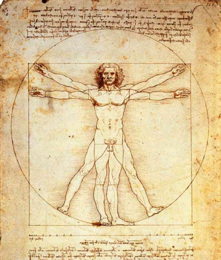 L'uomo vitruviano di Leonardo da Vinci, 1490 circa