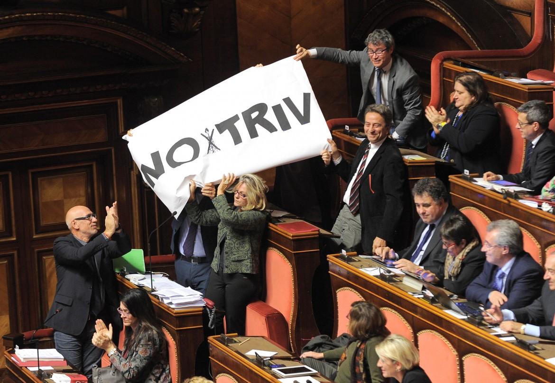 I senatori di Sel espongono lo striscione del movimento