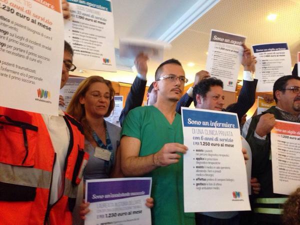La protesta dei lavoratori del pubblico impiego