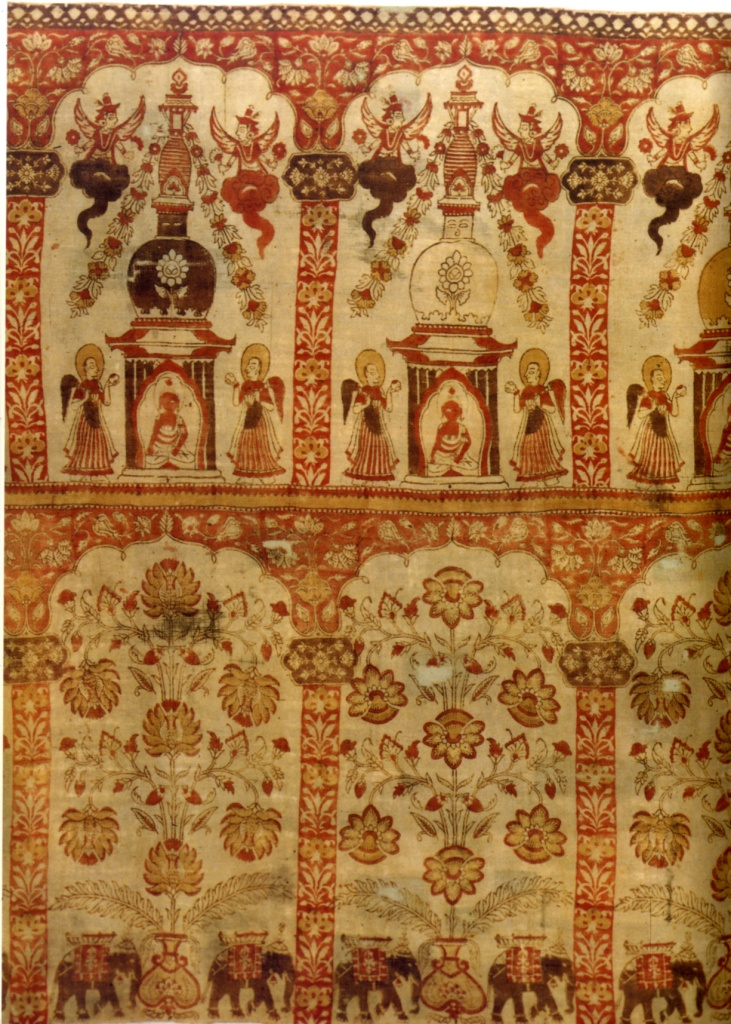 Pannello in cotone stampato con la riproduzione dello stupa di Svayambhunath, Nepa, sec. XVII-XVIII