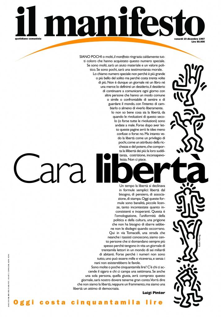 La copertina del 19 dicembre 1997, il giornale a 50.000 lire