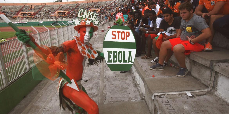 un supporter della Costa d'Avorio (Cnse sta per Comitato nazionale di sostegno agli Elefanti) sugli spalti prima del match di qualificazione vinto 5-1 con la Sierra Leone