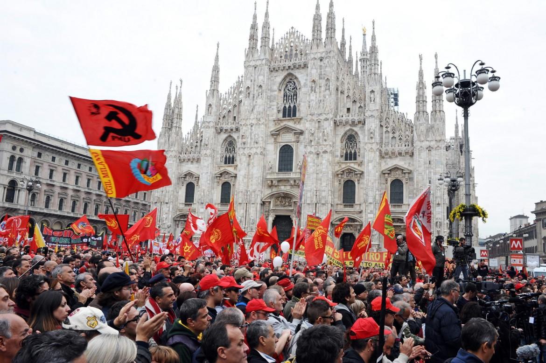 La manifestazione della Fiom ieri a Milano