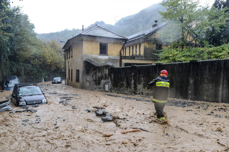 Voltri, esondazione del fiume Cerusa