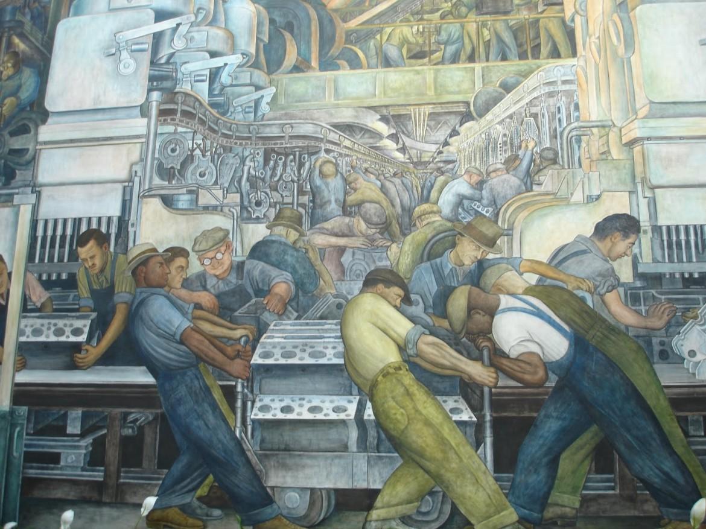Un particolare del murale di Diego Rivera all'entrata del museo Dia di Detroit