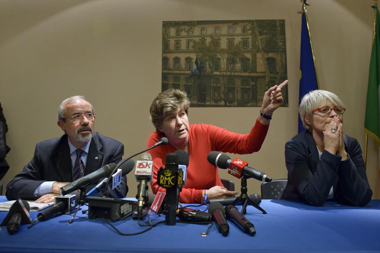 Da sinistra il segretario generale in pectore della Uil Carmelo Barbagallo, quello della Cgil Susanna Camusso e quello del Cisl Annamaria Furlan