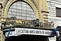 L'ingresso del teatro Eliseo in via Nazionale a Roma