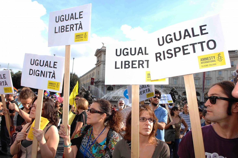 Una manifestazione per i diritti glbtq