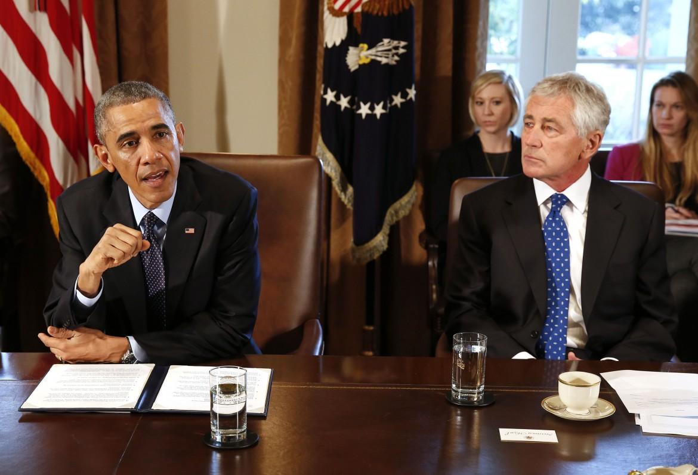 Barack Obama con Chuck Hagel