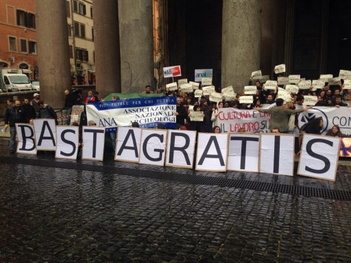 "La manifestazione ""Basta gratis"" ieri a Roma"