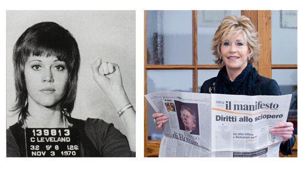 L'attrice Jane Fonda legge il manifesto